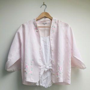 :: VINTAGE :: rose embroidered blouse